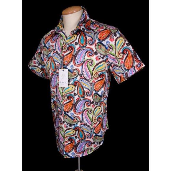 Robert Graham Paisley Punch Short Sleeve Stretch Sport Shirt2XL $198